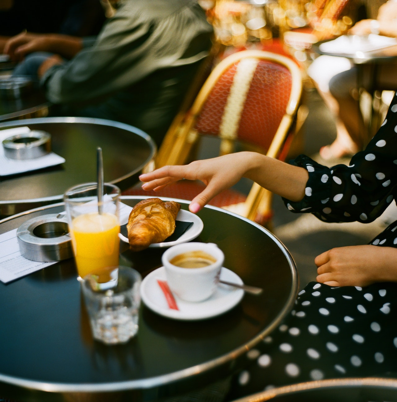 woman eating french food